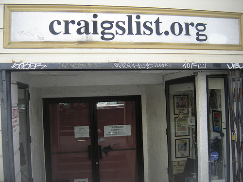 "A shop with ""Craiglist.org"" signboard"