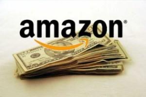 "Dollar cash with ""Amazon logo"" above it"