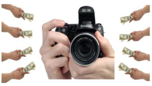 A camera with banknotes around
