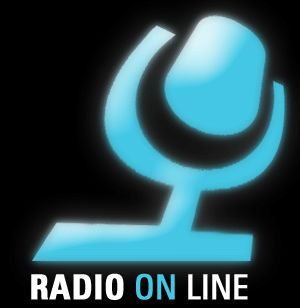 """Radio On Line"" words below a blue microphone"
