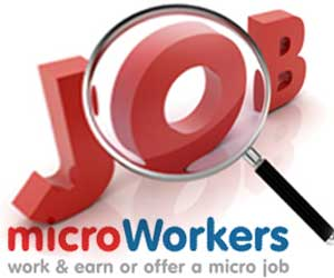"""Job"" word in red with below Microworkers logo"
