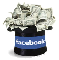 "Money coming out from a black hat with ""Facebook"" word written on it"