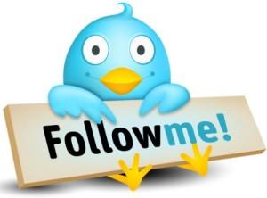 """Twitter blue bird holding a sign :""""Follow Me!"""""""