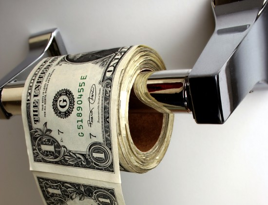 a toilet paper made ​​of dollars