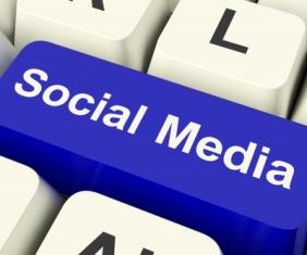 """Social Media"" blue keyword button"