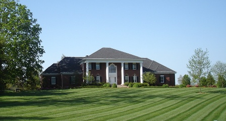 An big house with garden around