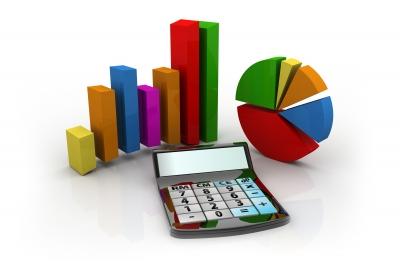 Calculator And Graphs Representing A Business Financial Performance