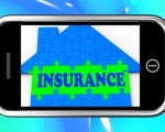 Insurance On Smartphone Showing House Financial Security