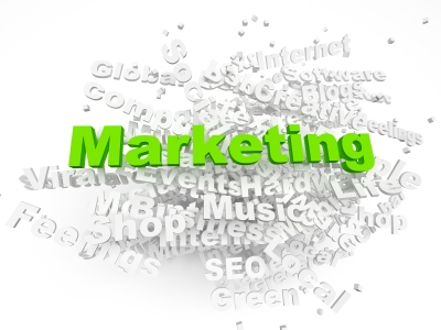 marketing green word in a tag cloud