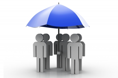 men under umbrella