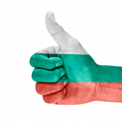 Thumb up with bulgarian flag pictured on the hand