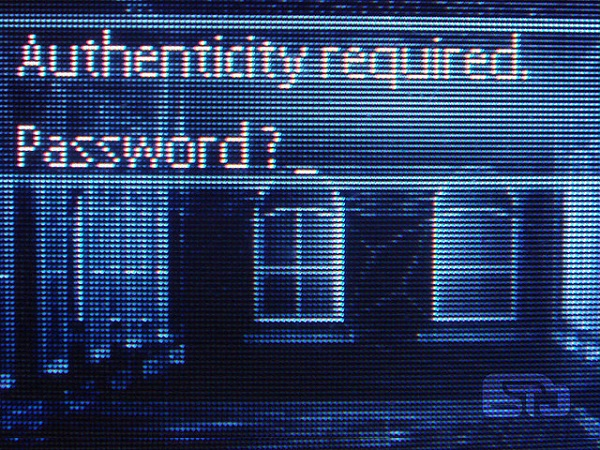 screen with request of password